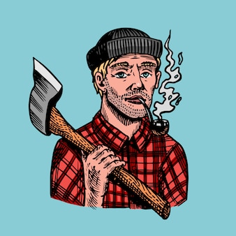 Lumberjack with an ax in a red shirt. feller or woodcutter with a pipe. hand drawn vintage retro logger character sketch