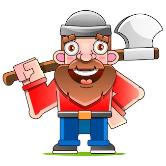 Lumberjack with axe and downed log   illustration