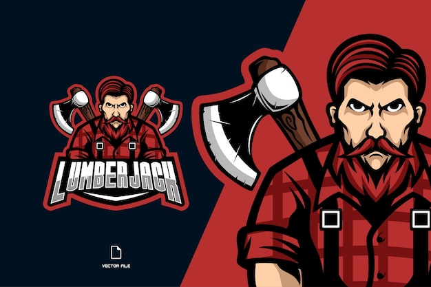 Lumberjack with axe mascot sport logo illustration cartoon