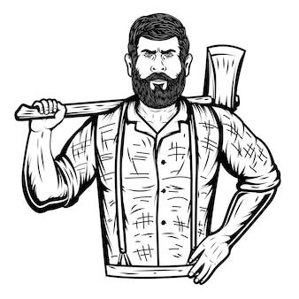 白い背景の上の斧で木こり。ポスター、エンブレム、看板、カードの要素。図