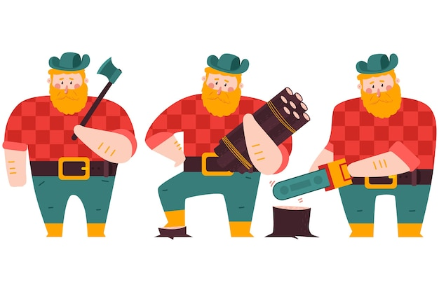 Lumberjack with axe, wood logs and chainsaw  cartoon character set isolated on a white background.