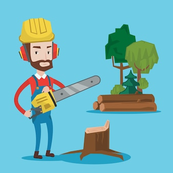 Lumberjack with chainsaw.