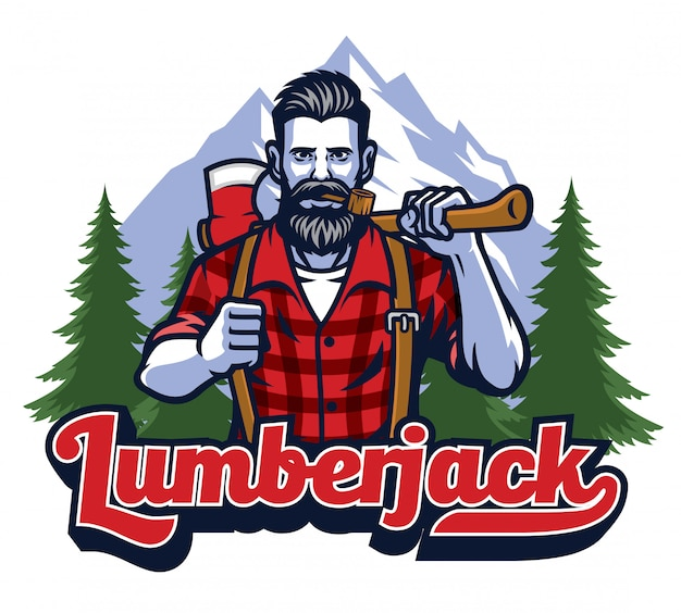 Lumberjack with pipe and holding big axe