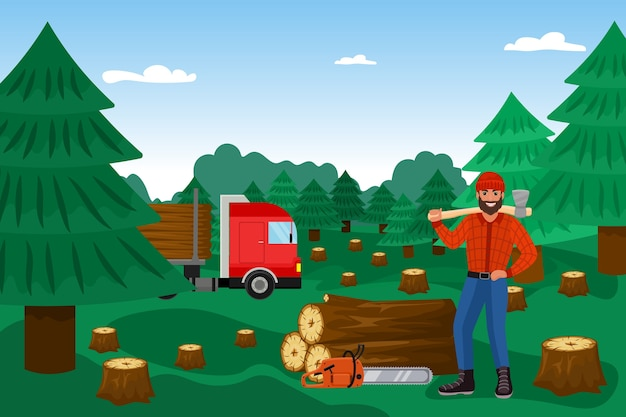 Lumberjack with woodcutter in forest
