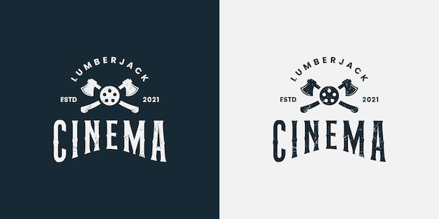 Lumberjack woodman cinema logo design vector