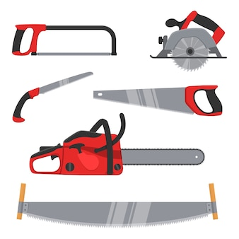 Lumberjack and woodworking tools isolated. axeman instruments saw set carpentry tools for sawing wood products timber industry