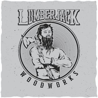 彼の肩のイラストに斧を持つ男と木こり木工品ラベルデザインポスター