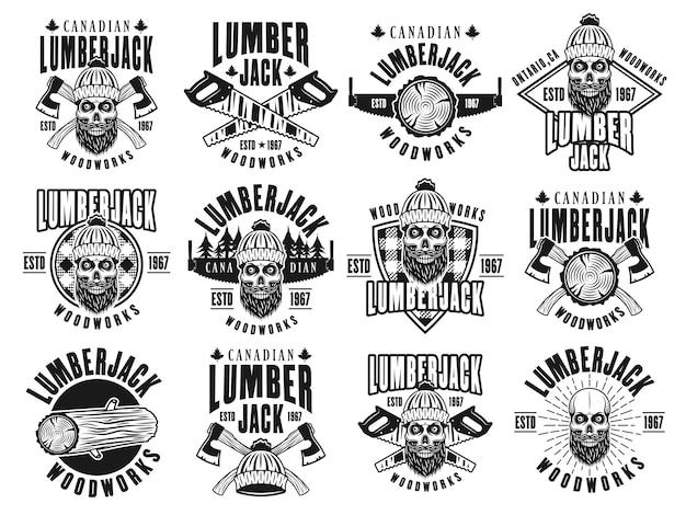 Lumberjack and woodworks set of emblems in vintage black style