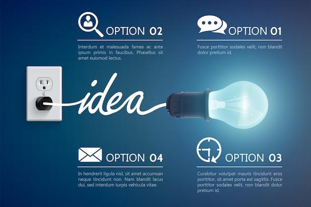 発光ランプのアイデアのコンセプト