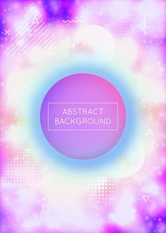Luminous background with liquid neon shapes. purple fluid. fluorescent cover with bauhaus gradient. graphic template for placard, presentation, banner, brochure. vibrant luminous background.