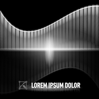 Luminous black-and-white background with digital music equalizer