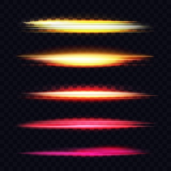 배너 디자인을 위한 빛나는 빛나는 조명 효과 마법의 빛나는 색상 먼지 라인 눈부심