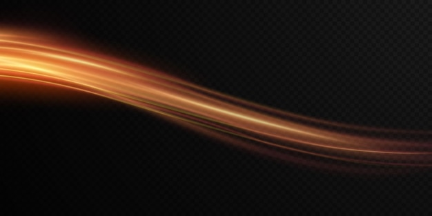 Luminous gold wavy line of light on a transparent background gold light electric light png