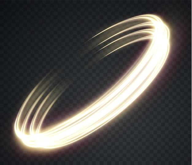 투명한 배경에 빛나는 금빛 물결선 금빛 전등 Png 프리미엄 벡터