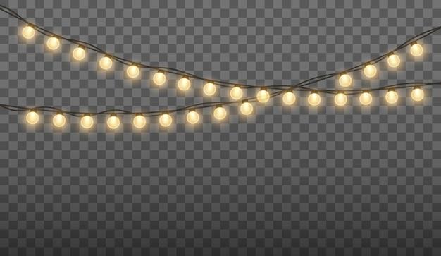 クリスマス休暇のための明るいライト。輝く金の球根の花輪