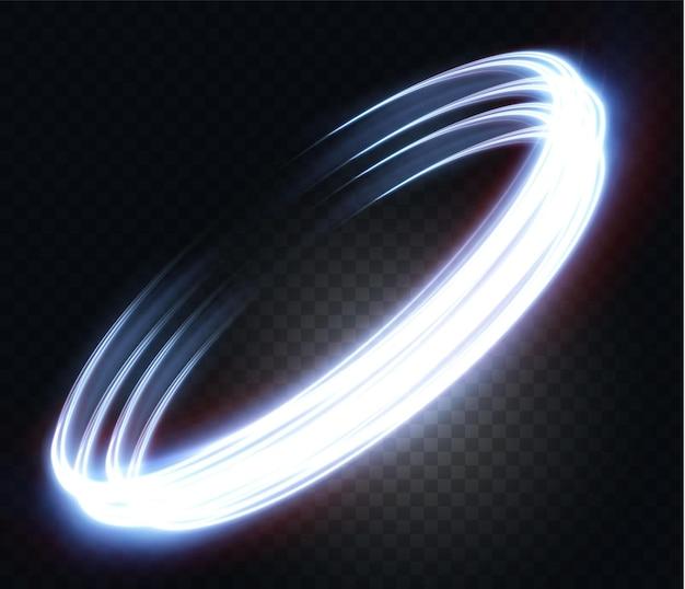 투명한 배경 네온 불빛 전등에 빛나는 네온 물결 모양의 빛