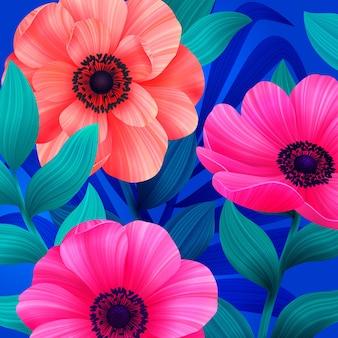 Светящийся тропический фон с розовыми и коралловыми цветами