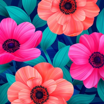 Luminous tropical background with pink and coral flowers