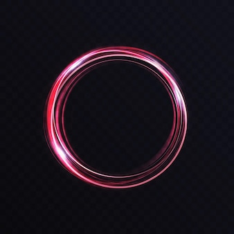 Luminous vibrant neon circle ring abstract glowing light effect storm trace round swirl