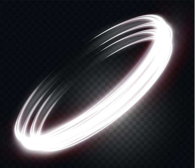 투명한 배경 네온 불빛 전등에 빛나는 흰색 물결선