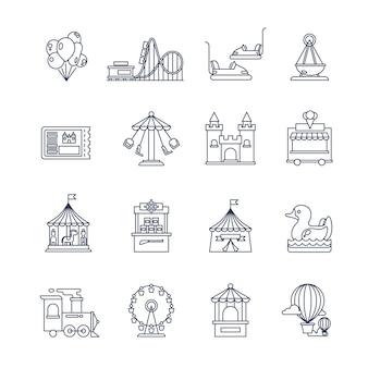 Luna park amusement line icons