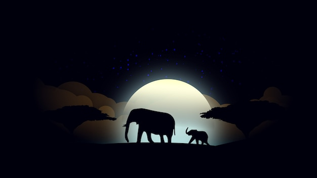 Lunar african night background with mother and baby elephant