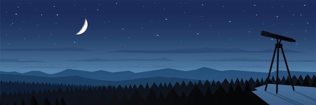 Иллюстрация ландшафта наблюдения лунного затмения