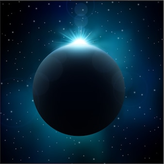 Lunar eclipse in space background