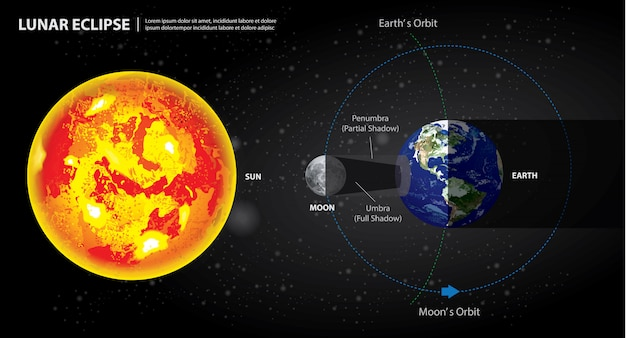 Lunar eclipses sun earth and moon illustration