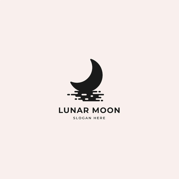 水上の月の影のシルエットと月の月のロゴ。