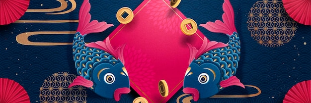 Lunar new year fish and spring couplet banner design in fuchsia and dark blue