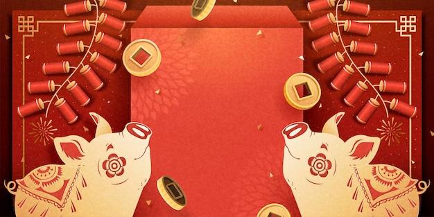 赤い封筒とファイヤークラッカーの装飾が施された旧正月の貯金箱のバナー、挨拶の言葉のためのコピースペース
