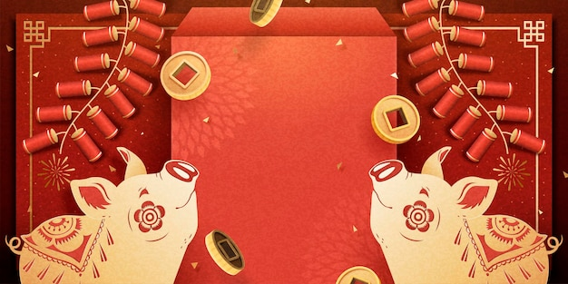 Lunar new year piggy banner with red envelope and fire crackers decoration, copy space for greeting words