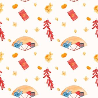 Lunar new year watercolor pattern
