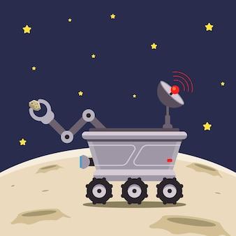 Лунный вездеход исследует луну Premium векторы