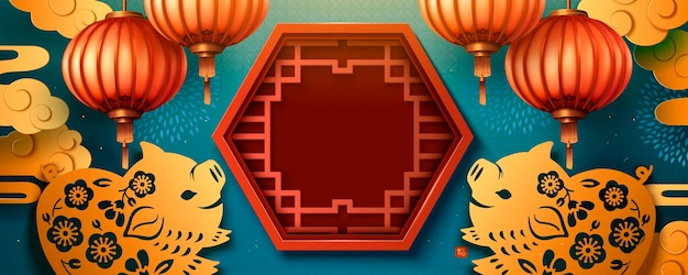 Lunar year banner design with cute paper art piggy and window frame decoration, copy space for greeting words