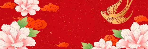 金のツバメとピンクの牡丹の花と旧正月のバナーデザイン