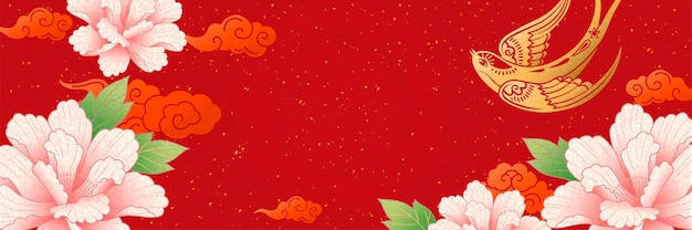 Lunar year banner design with gold swallow and pink peony flowers