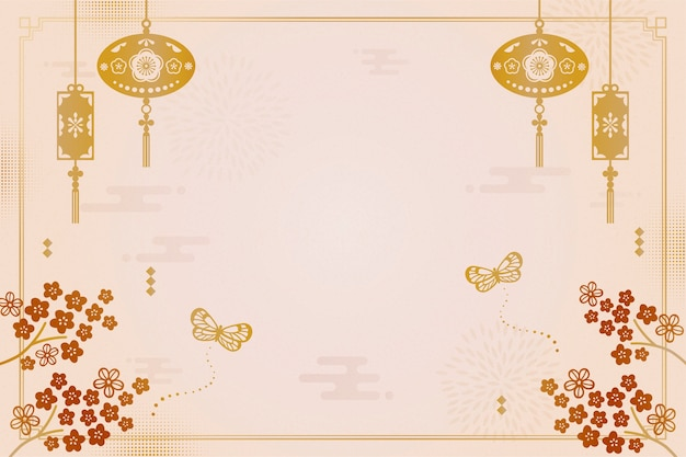 Lunar year decorative background with plum flowers and lanterns Premium Vector