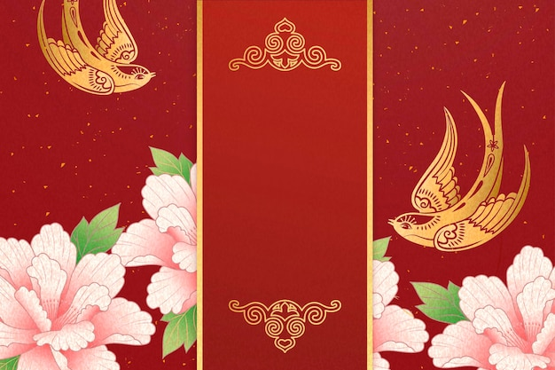 Lunar year design with gold swallow and pink peony flowers