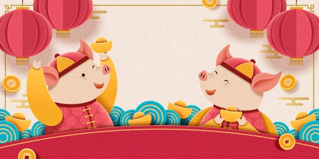 Lunar year design with lovely piggy holding gold ingots on pink background, hanging lanterns and falling coins decoration