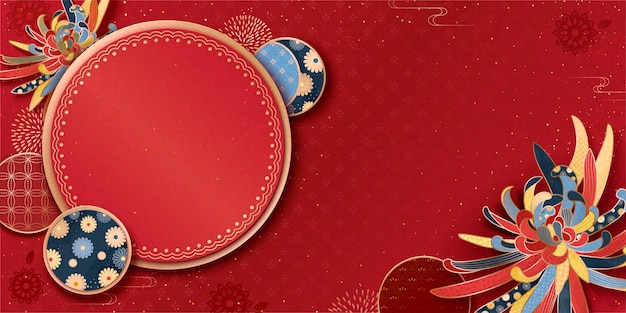 Lunar year greeting banner with chrysanthemum and traditional patterns on red background