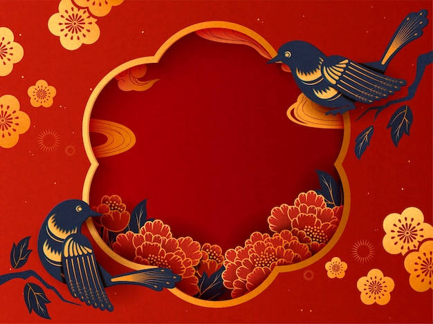 Lunar year traditional background with swallow