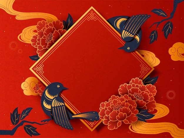 Lunar year traditional spring couplet with swallow