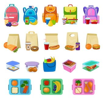 Lunch box vector school lunchbox with healthy food fruits or vegetables