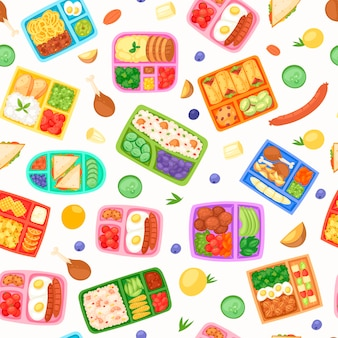 Lunch boxes with food seamless pattern