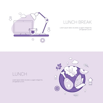 Lunch break concept template set web banner with copy space