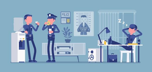 Lunch break in police station