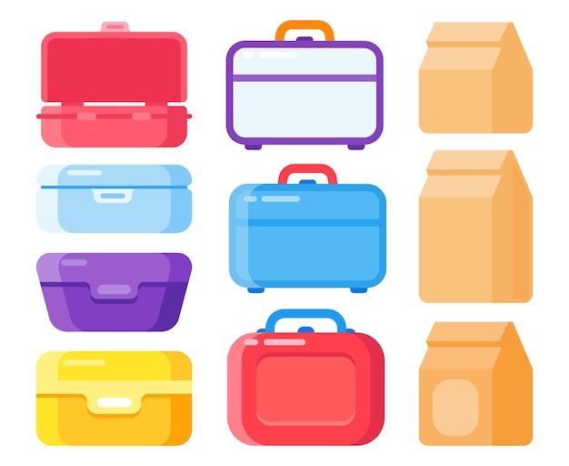 持ち帰り用のランチコンテナセット。スナック包装、使い捨てバッグでのランチミール。自家製食品を運ぶためのカラフルなプラスチック製のお弁当箱と紙袋分離ベクトル図