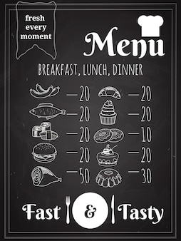 Lunch or dinner food menu poster design written on chalkboard